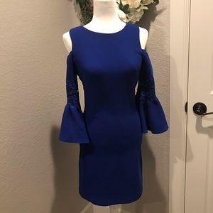 Eliza J beautiful blue dress with cold shoulders
